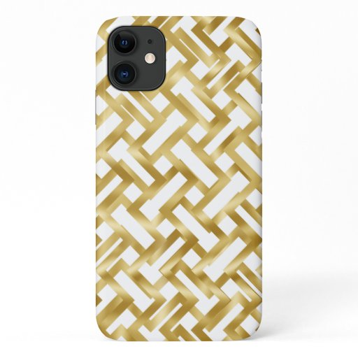 Gold weave geometric block pattern on white iPhone 11 case