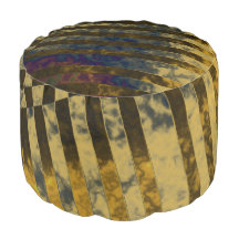 Gold Weave Round Pouf