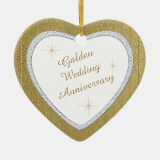 Gold Wedding Anniversary Faux Diamond Keepsake Ceramic Ornament