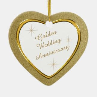 Gold Wedding Anniversary Heart Keepsake Ceramic Ornament