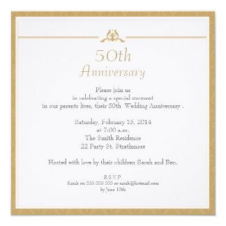 Gold Wedding Anniversary Invitation