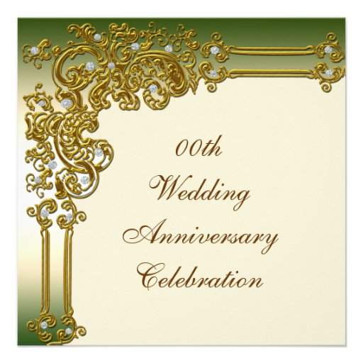 Gold Wedding Anniversary Party Invitation