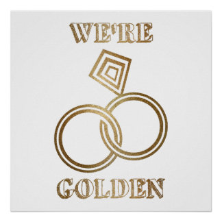 Gold Wedding Anniversary Romantic Gold Rings Poster