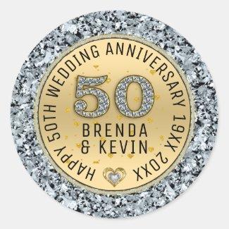Gold wedding anniversary white diamonds and gold classic round sticker
