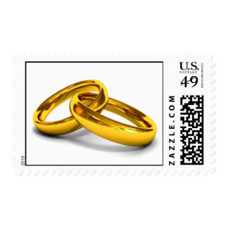 Gold wedding bands intertwined postage stamp