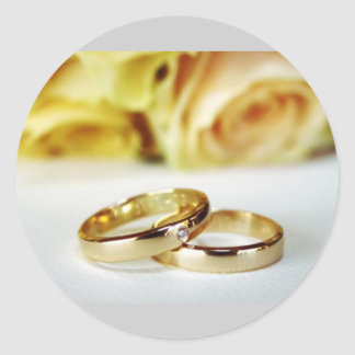 Gold Wedding Bands/Save the Date Classic Round Sticker