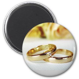 Gold Wedding Bands/Wedding 2 Inch Round Magnet