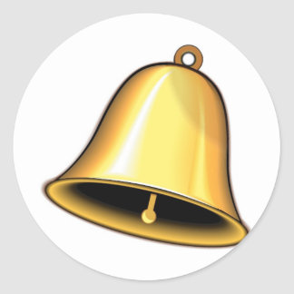 Gold Wedding Bell Classic Round Sticker