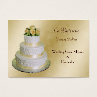gold Wedding Cake makers business Cards