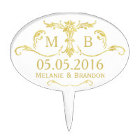 Gold wedding cake topper Monogram Cake pick