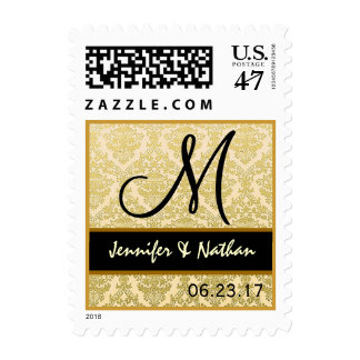 GOLD Wedding Damask Monogram Stamp