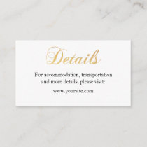 Gold wedding details card. Foil simple insert card