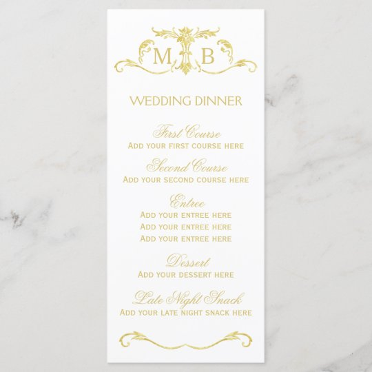 gold wedding dinner menu template set
