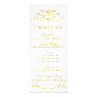 Gold wedding dinner menu template set customized rack card