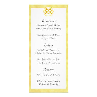 Gold Wedding • Double Happiness • Round Customized Rack Card