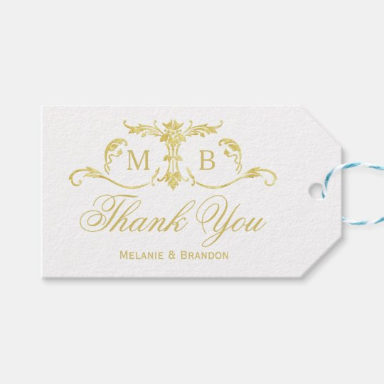 Gold Wedding Favor Gift Tags Thank You Tag