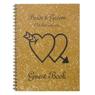 Gold wedding guest book   double heart and arrow spiral note book