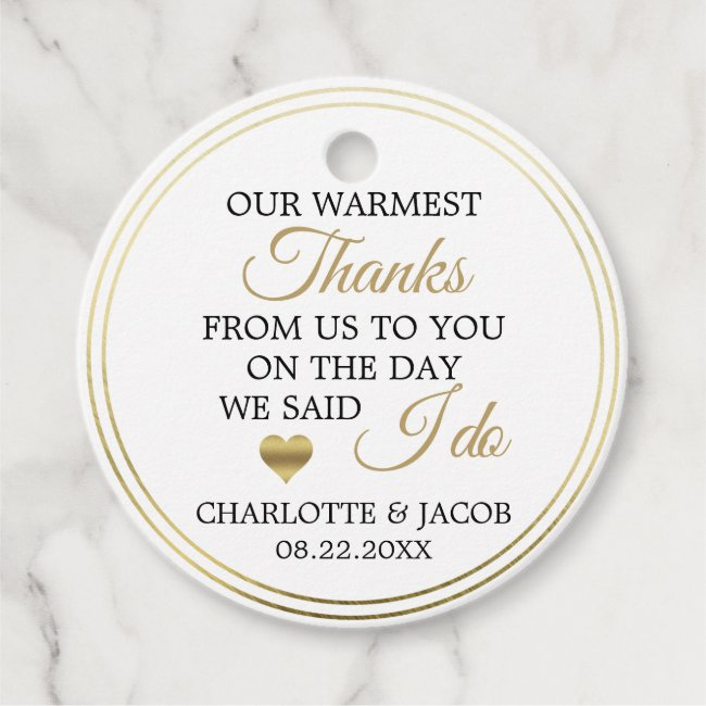 GOLD Wedding Heart Warmest Thanks | Thank You Favor Tags