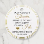 "GOLD Wedding Heart Warmest Thanks | Thank You Favor Tags<br><div class=""desc"">Lovely calligraphy script thank you wedding,  marriage gift favor tags to add to your guest gift favors. Faux gold foil heart with white background. ""Warmest thanks from us to you on the day we said I do"".  Perfect for any springtime,  spring or summer theme party. Editable template labels.</div>"