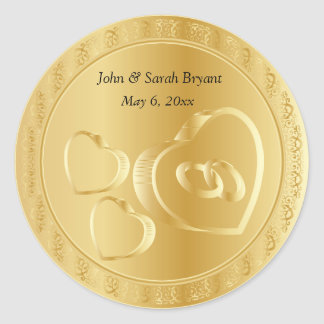 Gold Wedding Hearts and Rings Classic Round Sticker