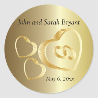 Gold Wedding Hearts and Rings   Personalize Classic Round Sticker