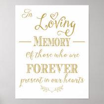 Gold wedding In Loving memory sign print