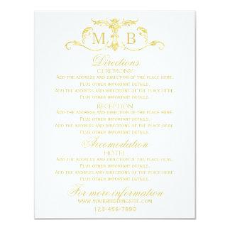 Gold wedding information cards Wedding enclosures