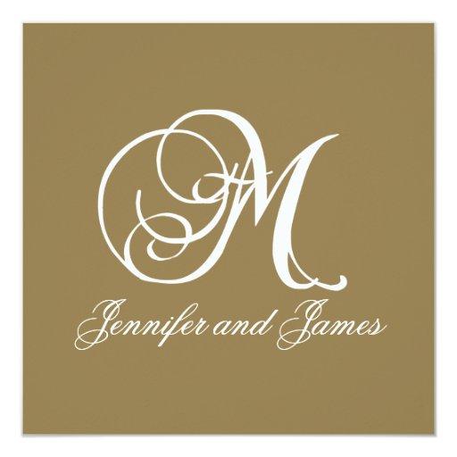 Gold Wedding Invitation Monogram M Template Zazzle