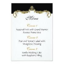 gold wedding menu card