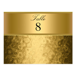 Gold Wedding Party table Numbers Postcard