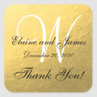 Gold Wedding Personalized Thank You Square Label