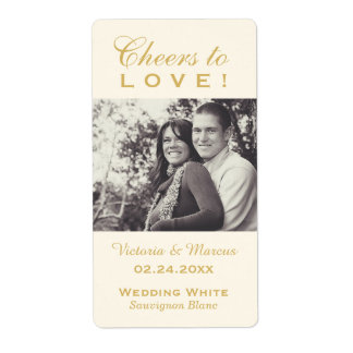 Gold Wedding Photo Wine Bottle Favor Labels
