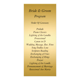 Gold Wedding Program Custom Rack Card