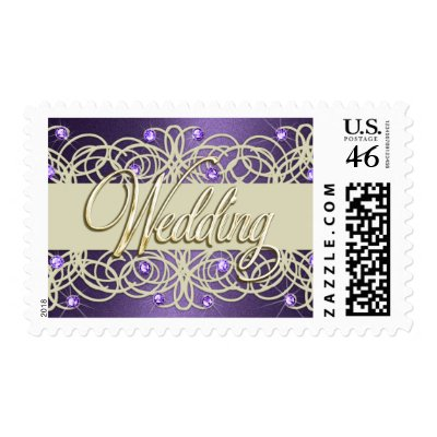 Gold Wedding Purple Crystal Lace Pearl Postage by TailoredType