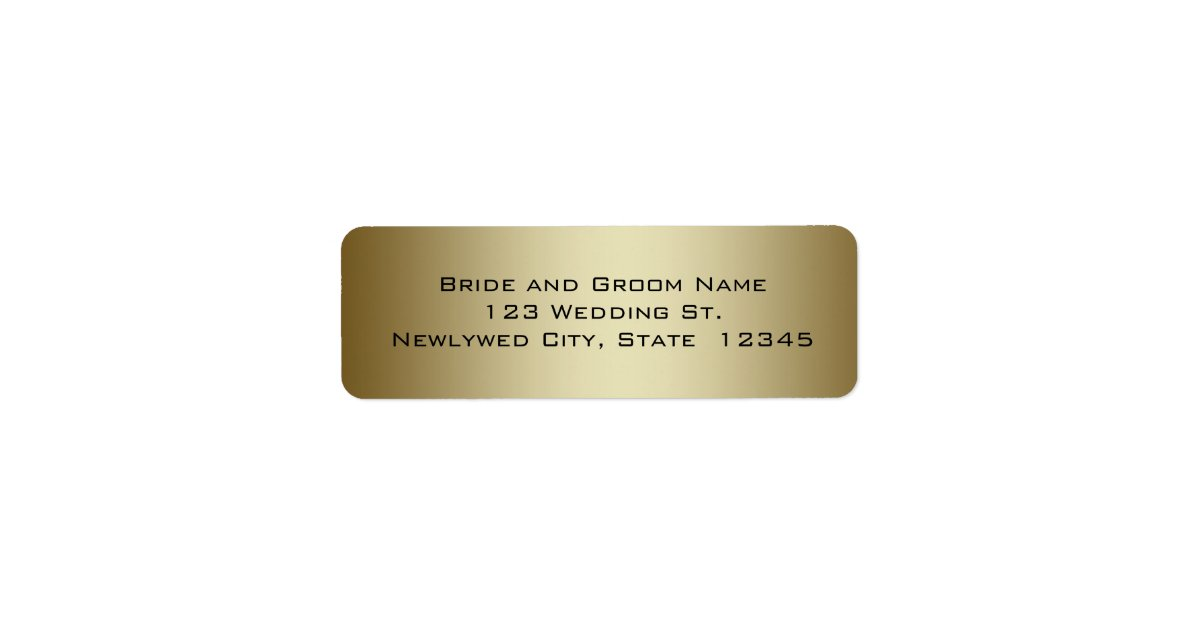 Gold Wedding Return Address Labels  Zazzle