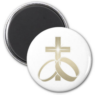 Gold wedding rings and cross art 2 inch round magnet