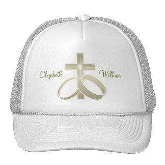 Gold wedding rings and cross art mesh hat
