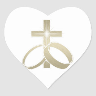 Gold wedding rings and cross art heart sticker