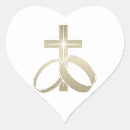 Gold Wedding Rings And Cross Art Heart Sticker