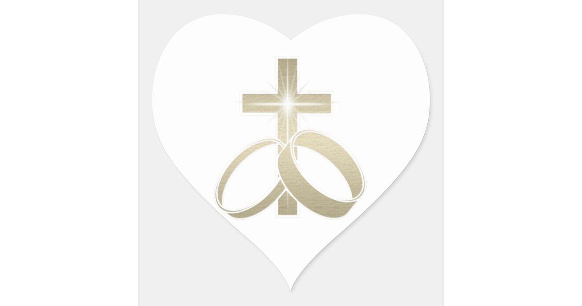 gold wedding rings and cross art heart sticker zazzle