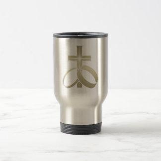 Gold wedding rings and cross art coffee mugs
