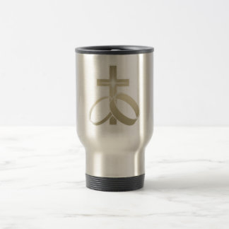Gold wedding rings and cross art travel mug