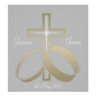 Gold Wedding Rings and Cross Customisable Poster