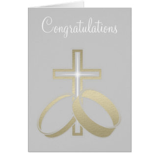 Gold Wedding Rings and Cross Gifts Card