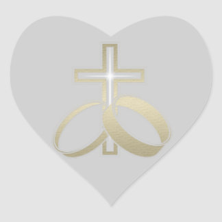 Gold Wedding Rings and Cross Gifts Heart Sticker
