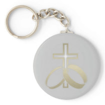 Gold Wedding Rings and Cross Gifts Keychain