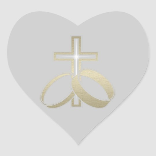 Gold Wedding Rings and Cross Heart Sticker