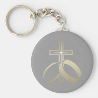 Gold Wedding Rings and Cross Key Chain
