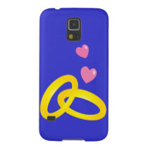 Gold wedding rings bands with love hearts galaxy s5 cover