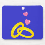 Gold wedding rings bands with love hearts mouse pad